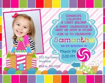 Candyland Photo Birthday Invitation