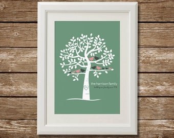 Personalized Family Tree, 3 Generations, Digital Download, Custom Family Tree, Printable, Grandparents Gift, Anniversary Gift