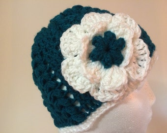 Womens crochet green and white hat with flower