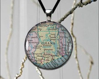 Lovely Map Ghana Africa Metal Pendant Unique Made to Order Custom Jewelry