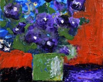 Digital Print - Still Life Art Prints - Floral Art - Purple Pansies - Wall Hanging - No 22