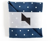 Mens pocket square royal blue with white polka dots - fall fashion trends - gift idea for him accessory
