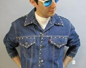 1980's LEVI DENIM JEAN Jacket, Mens Vintage Rockstar Coat with Gold Studs, Size 44-46