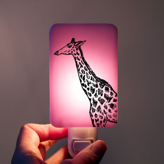 Giraffe Nightlight on Lavender or Lilac Fused Glass Night Light - Gift for Baby Shower or Nature Lover - Valentine Colors