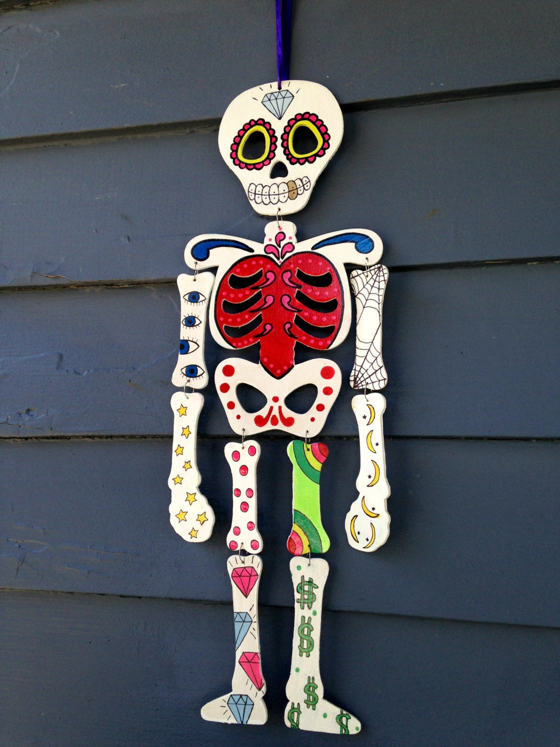 Day Of The Dead Hanging Skeleton Mobile Wood By