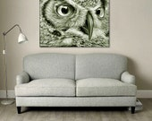 """Owl Art Giclee Print on Gallery Wrap Canvas  """"Great Horned Owl"""" Modern Art Print from Wildlife Painting 18x24, 30x40"""