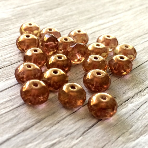 Czech glass beads, glass rondelle beads, donut beads light copper topaz 9/6mm 20 pack
