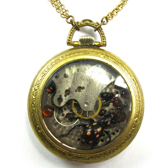 """Steampunk Genuine BEETLE Necklace """"Kafka Clock"""" Real Insect Garnet Carnelian One of a Kind Work of Art Available ONLY from Nouveau Motley"""