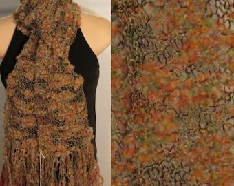 Hand Knit Wool Cotton Scarf lacy Coral Reef Coral Blue Yellow Black