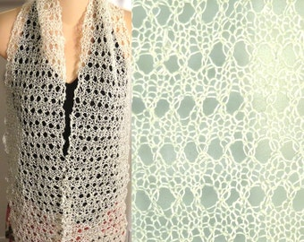 Hand Knit Scarf Lace Hemp cream
