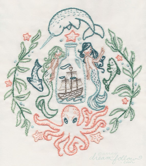 Diy ship in a bottle embroidery pattern pdf mermaid narwhal