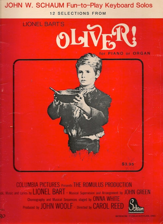 12 Selections from Lionel Bart's Oliver for Piano or Organ - 1984 - Vintage Sheet Music