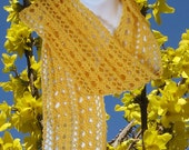 Yellow Forsythia Handknit Scarf -  Luxury Wool Lace