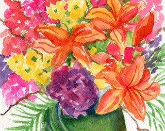 Flowers watercolor painting original, flower artwork 5 x 7 Tropical flowers bouquet Wall Art SharonFosterArt