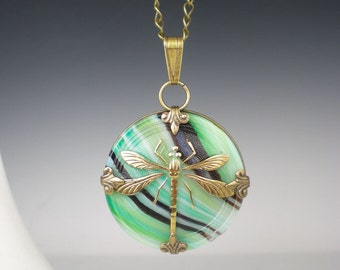 Dragonfly Necklace Green & Brown Czech Glass Button Oxidized Brass Vintage Inspired Jewelry