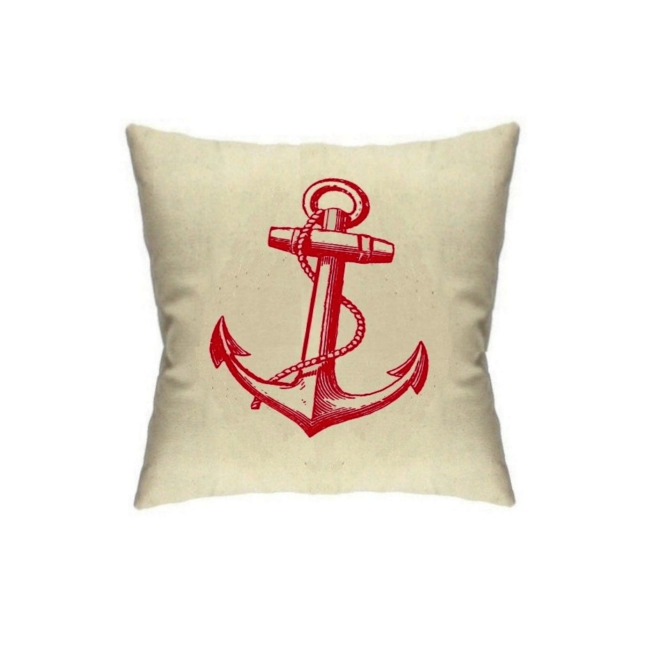 Anchor Pillow Nautical Home Decor Pillows Sailor by BrunoAndBetty