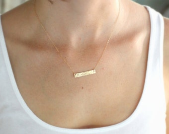 Initial Necklace, Rectangle, Gold Bar, Hammered Edge, Typewriter Font, Small, Everyday Necklace, Mother's Necklace, Modern Mom, gold fill