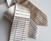 Library date due necktie. Due date card tie. Silkscreened men's tie. Perfect teacher, librarian, writer, bookworm, reading gift.