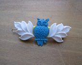 VINTAGE PARTS Owl Barrette - turquoise + white + yellow