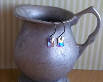Sparkle Earrings - Swarovski Crystal Flat Back Tile Beads And Oxidized Sterling Silver Earrings