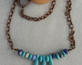 Copper Chain Turquoise and Sodalite Dagger Spike Necklace
