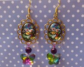 Dangly Floral Earrings with Rainbow Crystal Butterflies - Old Fashioned, Vintage Style, Colourful, Iridescent, Magical, Cottage Granny Chic