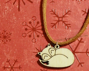 Cozy Winter Sleeping Fox Necklace. Suede Cord with clasp. Wood Laser Cut Pendent. YOU CHOOSE LENGTH