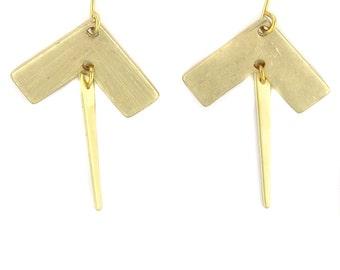 Birdhouse Jewelry - Chevron Tiny Spike Earrings