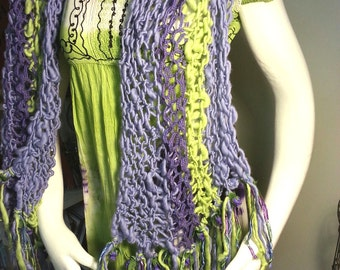 Fairy Garden Hand Spun Hand Knit Boho Shawl or Scarf in Purple, Lavender, Green with Ribbons and Silk Flowers