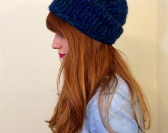 Dark blue teal slouchy knit beanie - chunky wool toboggan hat