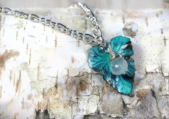 Dew Drop Necklace Rainbow Moonstone on Verdigris Brass Leaf Sterling Silver Plated 18 inch Chain Turquoise