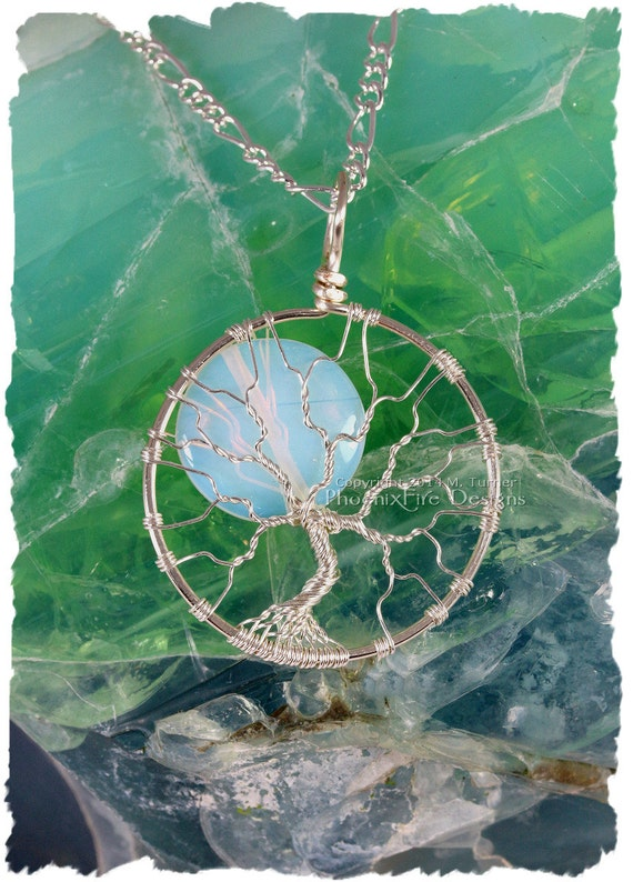 Full Moon Tree of Life Pendant Silver Opalite Rainbow Moonstone Wire Wrapped Jewelry Handmade Tree of Knowledge Necklace PhoenixFire Designs