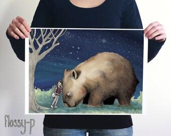 Giant Wombat & Banjo Boy, Large Full Colour Art Print by flossy-p. Australian animal, gift.