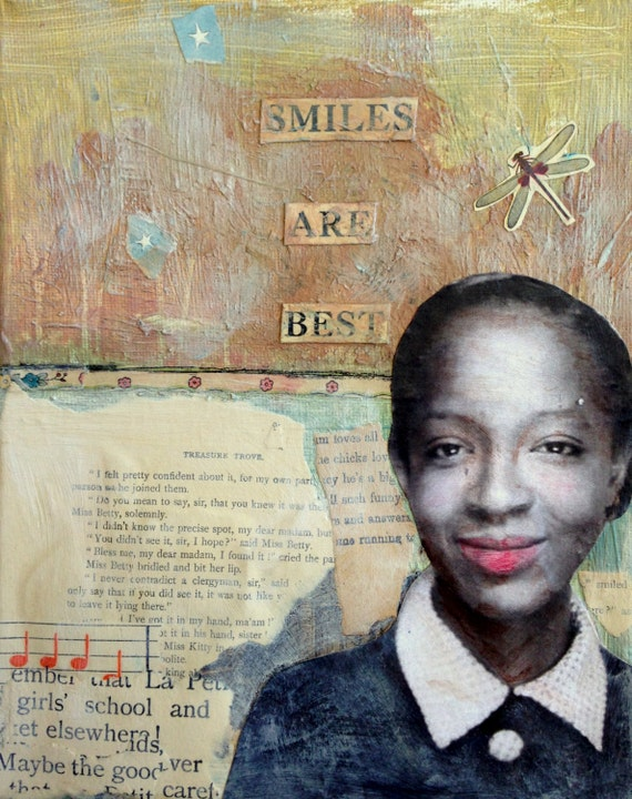 Smiles are Best vintage woman inspired mixed media painting