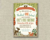 Woodland 1st First Birthday Boy Invitation Fall Nature Owl Deer - Digital - by girls at play girlsatplay