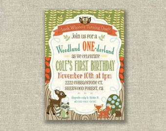 Woodland 1st First Birthday Boy Invitation Fall Nature Owl Deer - Digital - by girls at play girlsatplay
