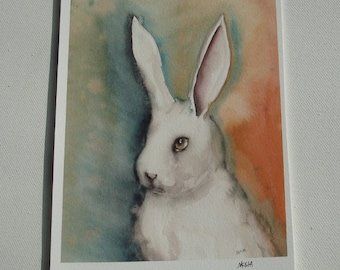 Portrait of a White Rabbit -  Fine Art Bunny Print