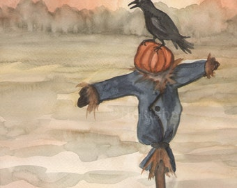 Original Art - The King of Crows - Watercolor Crow Painting -The Badgers Forest Tarot
