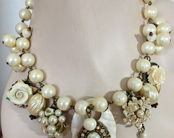 Vintage Beaded Statement Necklace - Mother of Pearl - Vintage Earrings -  One of a Kind