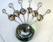 Blue Tan and Black Pressed Glass Bead Stainless Steel Cocktail Appetizer Picks Set of 6