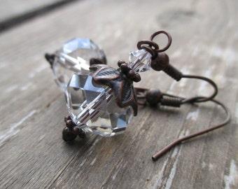 Crystal Glass Earrings. Sparkling Faceted Glass Earrings. Rustic Earrings. Bridal Wedding Jewelry. Crystal Drop Earrings - EMILYGRACE
