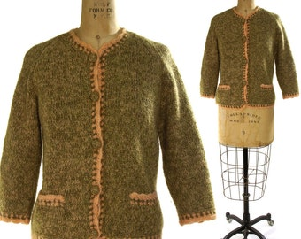 50s Cardigan Sweater with Cute Covered Buttons & Pockets / Wool / Miss Winston / Medium