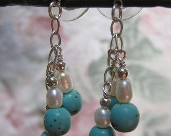 Turquoise Magnesite Gem Silver Earrings - Free Shipping