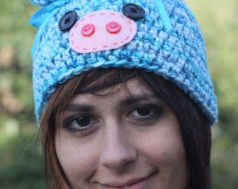 Blue Piggy Hat
