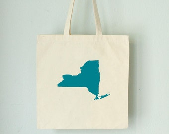 SALE New York LOVE Tote - LONGISLAND turquoise state silhouette on natural bag