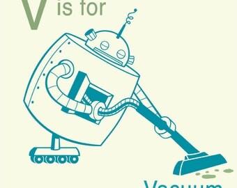 Robot Alphabet Art Print - V is for Vacuum, Toddler Room decor, nursery wall decor, letter V art