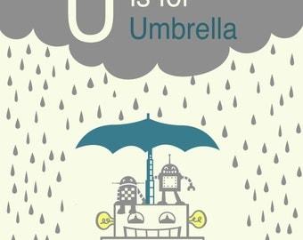 Alphabet Art Print - Wall decor for nursery or kid's room - U is for Umbrella