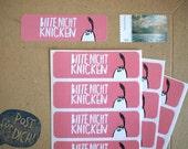"""12  """"Bitte nicht knicken"""" stickers/labels - 68x21mm"""
