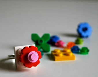 Play Day Lego Ring in White - Build Your Own LEGO Jewelry - Flower - Create Pretend Play - Upcycled - Kid Jewelry - Tweens