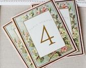 Vintage Floral Frame Wedding Reception Table Numbers Roses Blush Pink Antique Gold Mint Green